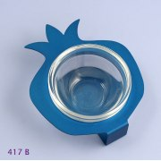 Shraga Landesman Aluminum and glass Pomegranate Honey Dish - Blue