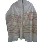 Silk Tallit with Hand with Multicolor Stripes