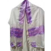 Silk Tallit with Hand Panted Lavender Stripes