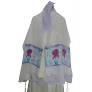 Silk Tallit with Handpainted Land of Milk and Honey Design