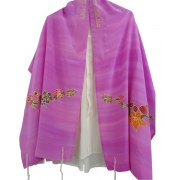 Silk Tallit Prayer Shawl with Holyland Fruits and Flowers Design