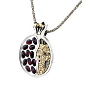 Silver and Gold and Purple Stones Pomegranate Jerusalem Window Necklace
