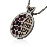 Silver and Gold Ani Ldodi Vdodi Li Pomegranate Necklace with Stones