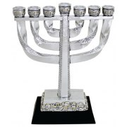 Silver and Gold Colored 7 Branch Twisty Menorah with Jerusalem