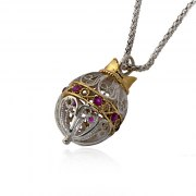 Silver and Gold Intricate Decorative Pomegranate Necklace with Purple Stones