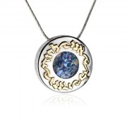 Silver and Gold Round Roman Glass Necklace Ani Ldodi Vdodi Li