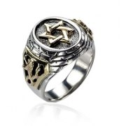 Silver and Gold Star of David Lion of Judah Ring