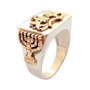Silver and Gold Ten Commandments Lion of Judah Ring