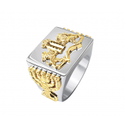 Silver and Gold Ten Commandments Menorah Ring
