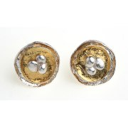 Buy Silver and plated gold round earring by Idit Jewelers