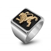 Silver and Red Gold Jerusalem Lion Ring