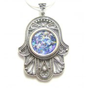 Silver and Roman Glass Filigree Hamsa Necklace