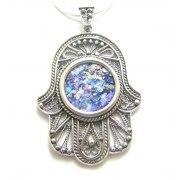 Silver and Roman Glass Filigree Hamsa Necklace