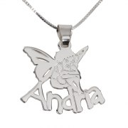 A Silver Angel with a Customized Name Jewelry