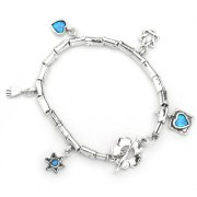 Silver Blue Opal Shablool Star of David Flower Hamsa Heart Charm Bracelet