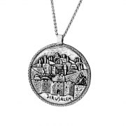 Silver Circle Jerusalem Old City Necklace