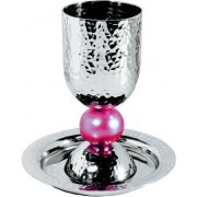 Silver Colored Anodized Alluminum Kiddush Cup with Big Red Bead Stem