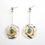 Buy Silver Earrings with Plated Gold and Opal Stone by Idit
