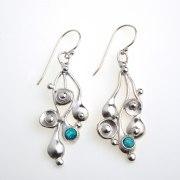 Silver Falling Teardrops Earrings with Opal Accent - Idit Jewelry