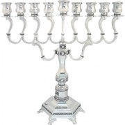 Silver Filigree Hanukkah Menorah with Curved Branches