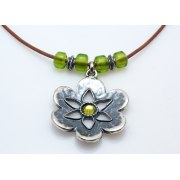 Silver Flower or Heart Pendant Necklace with Swarovski Crystals - Anava Jewelry
