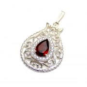 Silver Garnet and Zircons Pomegranate Necklace