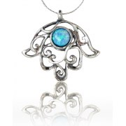 Silver Hamsa Necklace with Opal Filigree Design