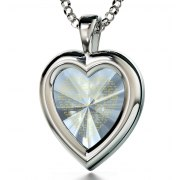 Silver Heart  Thank You Mom with Cubic Zirconia Crystal Clear
