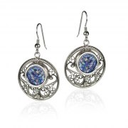 Silver Intricate Round Earrings With Roman Glass