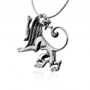 Silver Lion of Judah Necklace