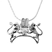 Silver Lions of Judah Two Tablets Menorah Necklace