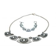 Silver Necklace & Bracelet Set, Framed Crystals - Anava Jewelry