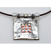 Silver Pendant Necklace with Swarovski Crystals - Anava Jewelry