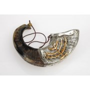 Silver Plated Anointing Oil Rams Horn Shofar with Menorah