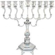 Silver Plated Diamond Design Hanukkah Menorah