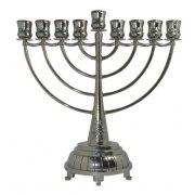 Silver Plated Elegant Hanukkah Menorah with Blue Stones