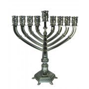 Silver Plated Filigree Hanukkah Menorah with Clear Stones