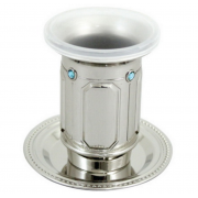 Silver Plated Kiddush Cup with Rectangles and Set with Stones