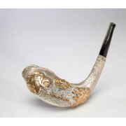 Silver Plated Rams Horn Shofar with Jerusalem Lions