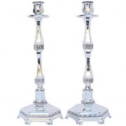 Silver Plated Tall Candlesticks with Elegant Filigree