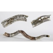 Silver Plated Yemenite Shofar Olive Branch and Messianic Symbol