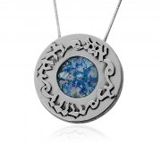Silver Roman Glass Round Ani Ldodi Vdodi Li Necklace