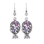 Silver and Stones Upside Down Pomegranate Earrings