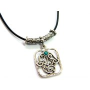 Silver Shablool Framed Hamsa Necklace with Turquoise Stone
