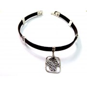 Silver Shablool Hamsa Leather Choker Necklace