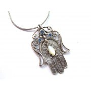 Silver Shablool Hamsa Necklace with Mother of Pearl and 3 Blue Stones