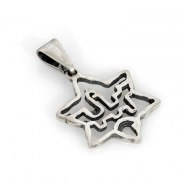 Silver Star of David with Jerusalem walls