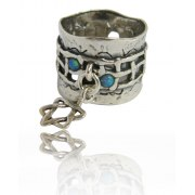 Silver Star of David Ring with Blue Opal Interwoven Design