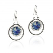 Silver Twisted Cord Round Earrings With Roman Glass Circle