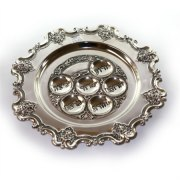 Silverplate Pesach Seder Plate, Intricate Carved Trim